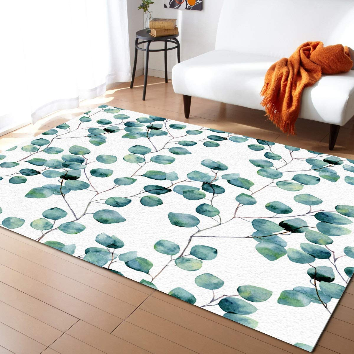 Chic D Watercolor Green Floral Collection Area Rug 2x3ft Eucalyptus Round Leaves Area Runner Rugs Non Slip Carpets Living Room Bedroom Indoor Outdoor Nursery Rugs Décor Garden Outdoor