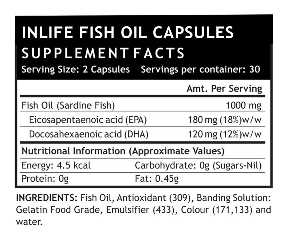 Amazon.com: INLIFE Fish Oil (Omega 3) 180/120 EPA DHA per serving Supplement 500 mg - 60 Liquid Filled Capsules: Health & Personal Care