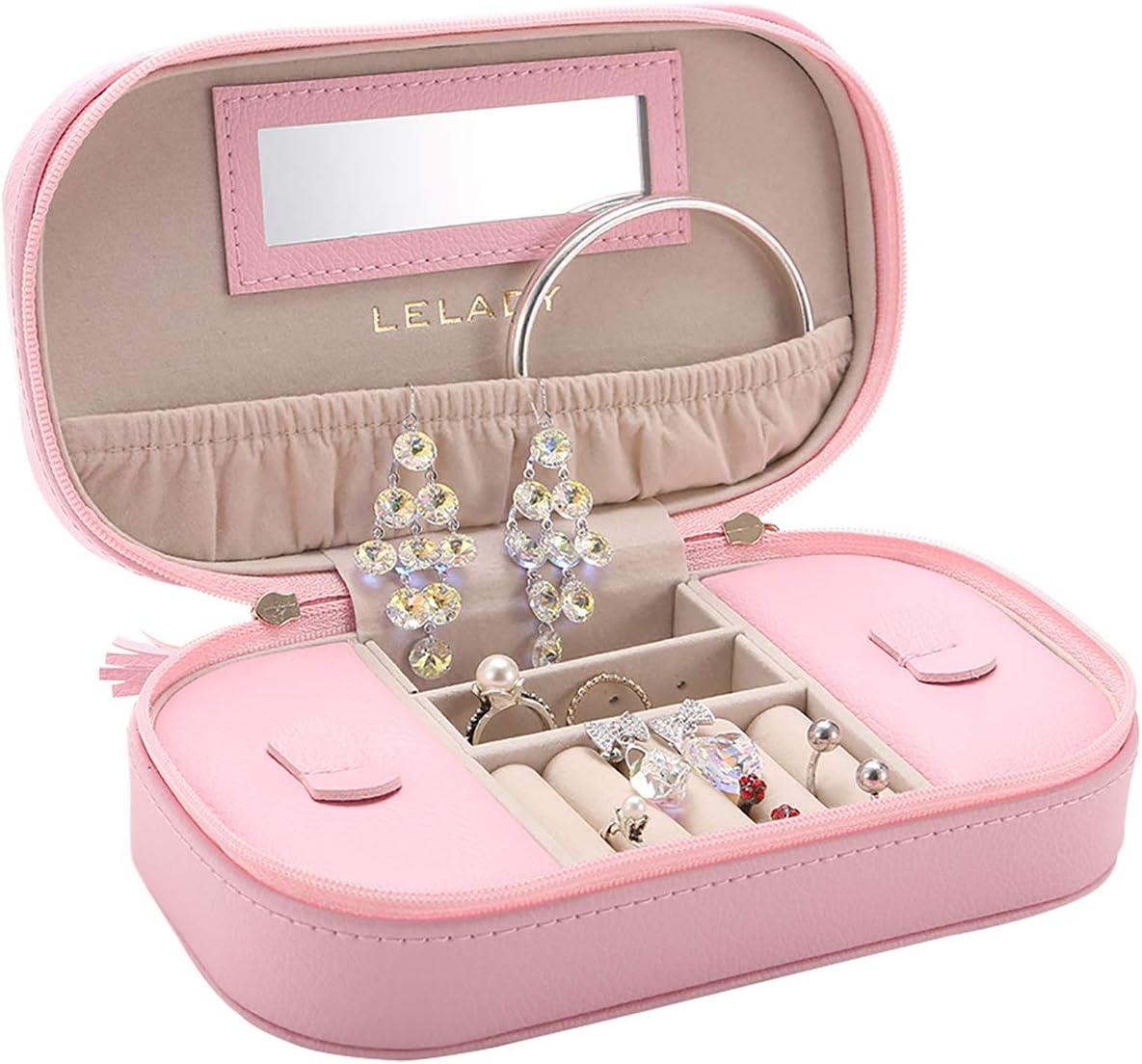 LELADY Caja Joyero Pequeña para Mujer, Joyero Viaje Cajas para Anillos, Aretes, Pendientes, Pulseras y Collares (Rosa)