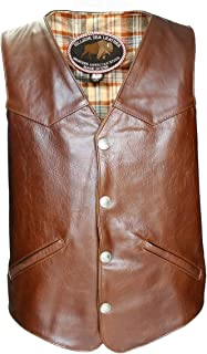 product image for Men's Western Style Brown American Bison Leather Vest