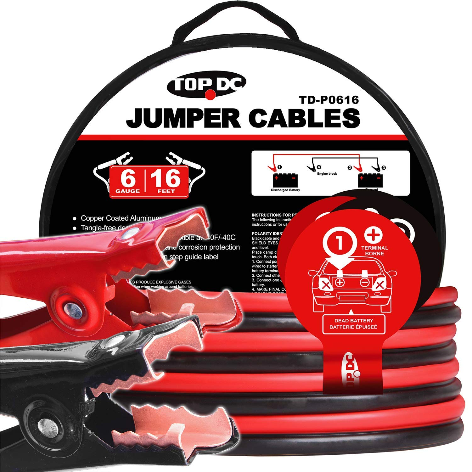 TOPDC Jumper Cables 6 Gauge 16 Feet Heavy Duty Booster Cables with Carry Bag (6AWG x 16Ft) by TOPDC