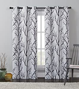 """VCNY Home KNM-PNL-4284-I2-I1 Printed Blackout Microfiber Curtain Panel With Grommets, Modern and Contemporary Style Window Dressing for Home Décor, 40"""" X 84"""", IVORY"""