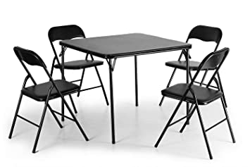 Amazon.com - Lucidz Table & Chair Sets, Black Folding Card ...