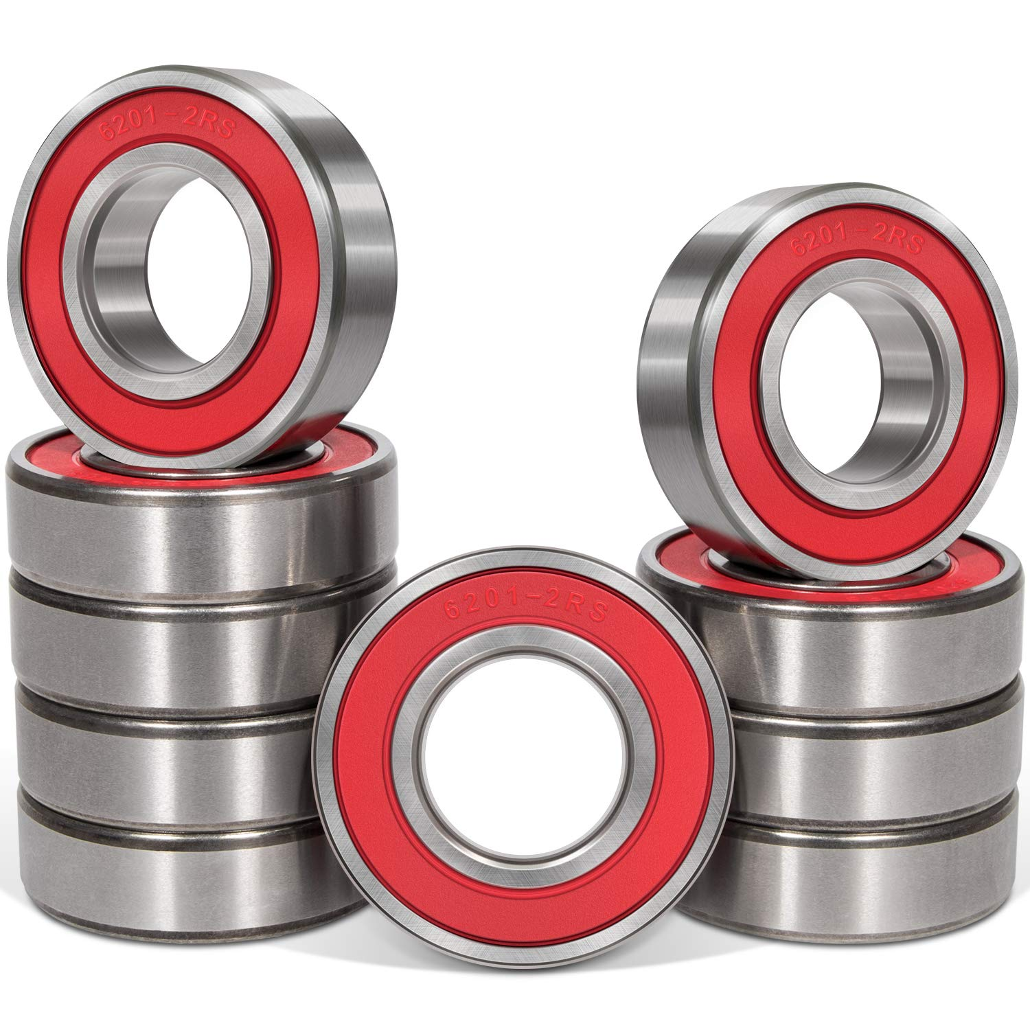 10 Pcs 6201-2RS Ball Bearings (12x32x10mm) Double Rubber Red Seal Bearing, Deep Groove for Garden Machinery, Electric Toys and Tool, etc. 71t0vIqO-xL
