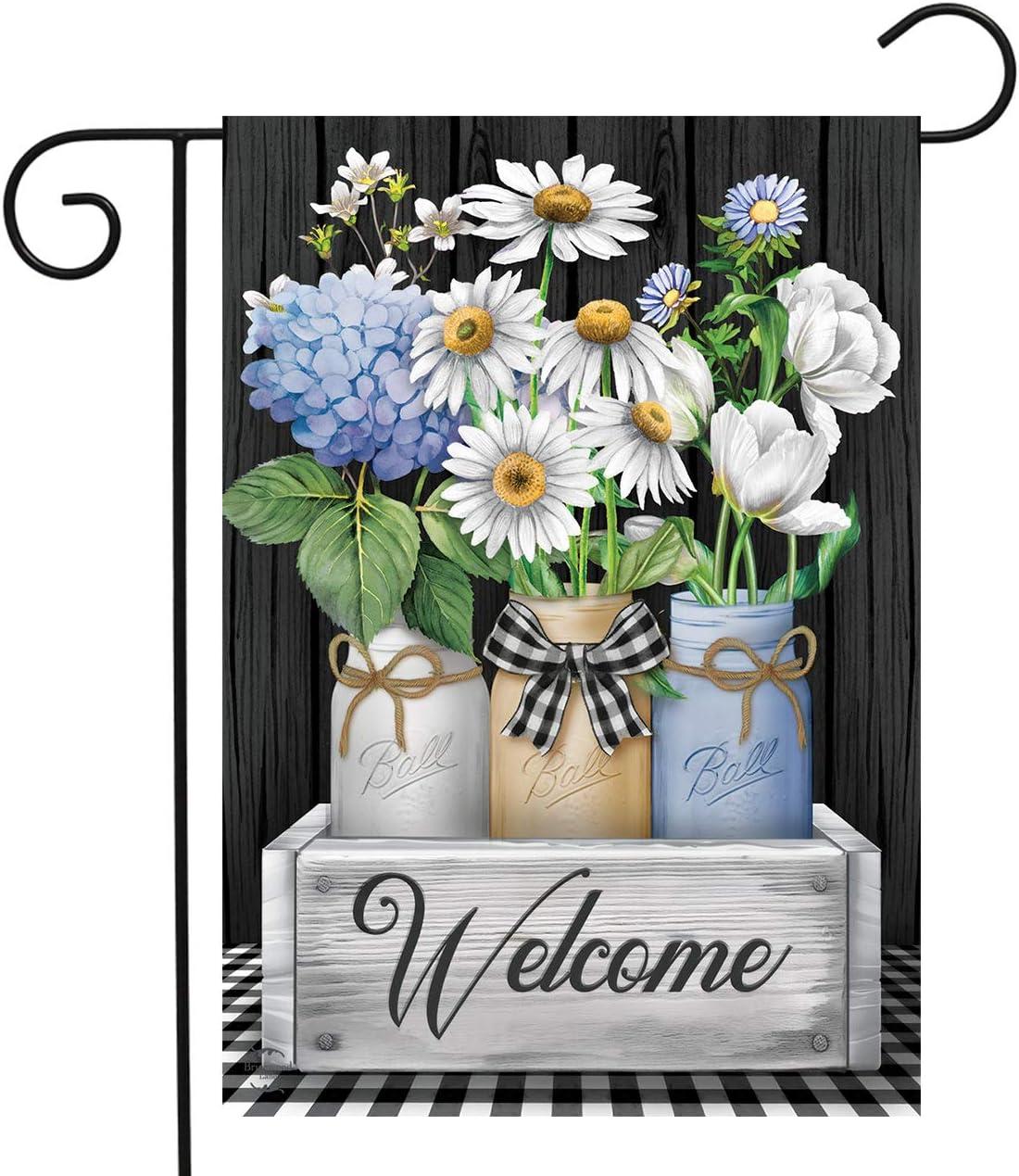 Briarwood Lane Crated Mason Jars Spring Garden Flag Welcome Daisies 12.5