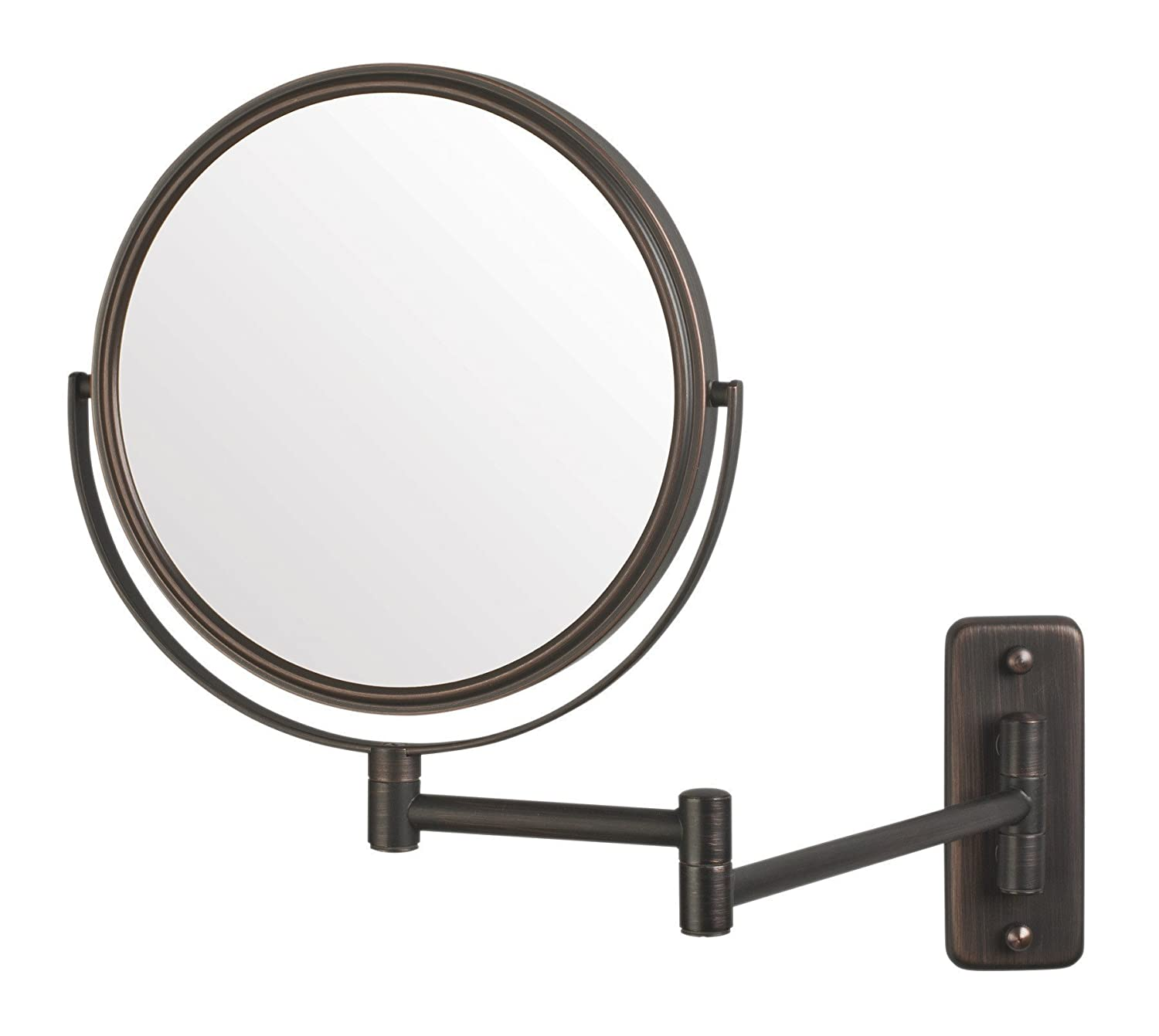 Jerdon JP7506N 8-Inch Two-Sided Swivel Wall Mount Mirror with 5x Magnification, 13.5-Inch Extension, Matte Nickel Finish