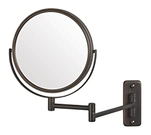 Jerdon JP7506BZ 8-Inch Wall Mount Makeup Mirror with 5x Magnification, Bronze Finish