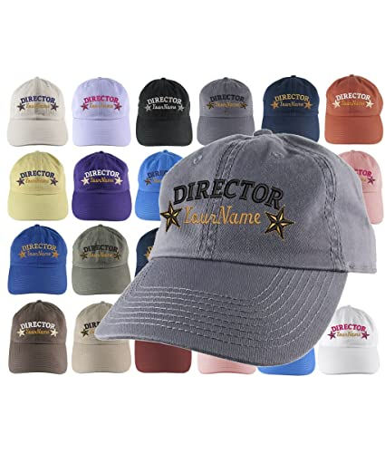 24e67d41 Amazon.com: Custom Personalized Director Stars Embroidery Selection of 16  Colors Adjustable Unstructured Baseball Cap Dad Hat +Option Back  Embroidered: ...