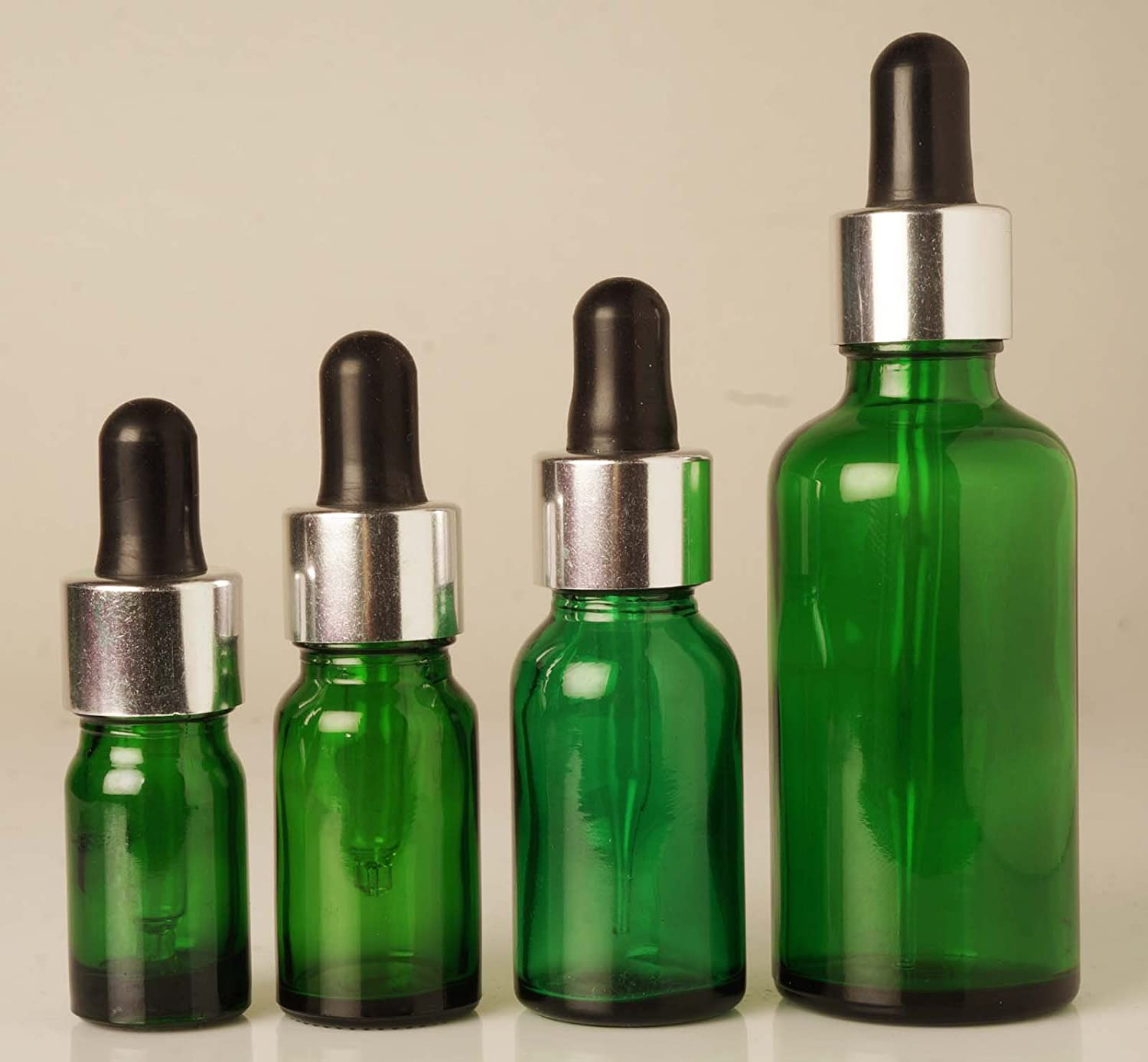 Lot of 6 x 10 ml Glass Bottles With Dropper Pipettes For Essential Oils Empty Container Round Green Bottles MT Bottles & Jars