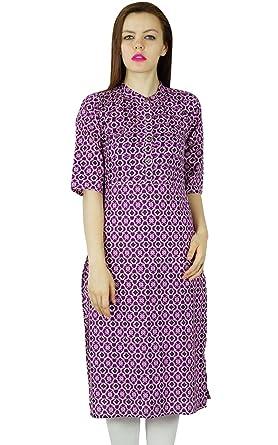 Bimba Women Printed Purple Kurta Kurti 3/4 Sleeve Long Tunic Indian Formal Blouse