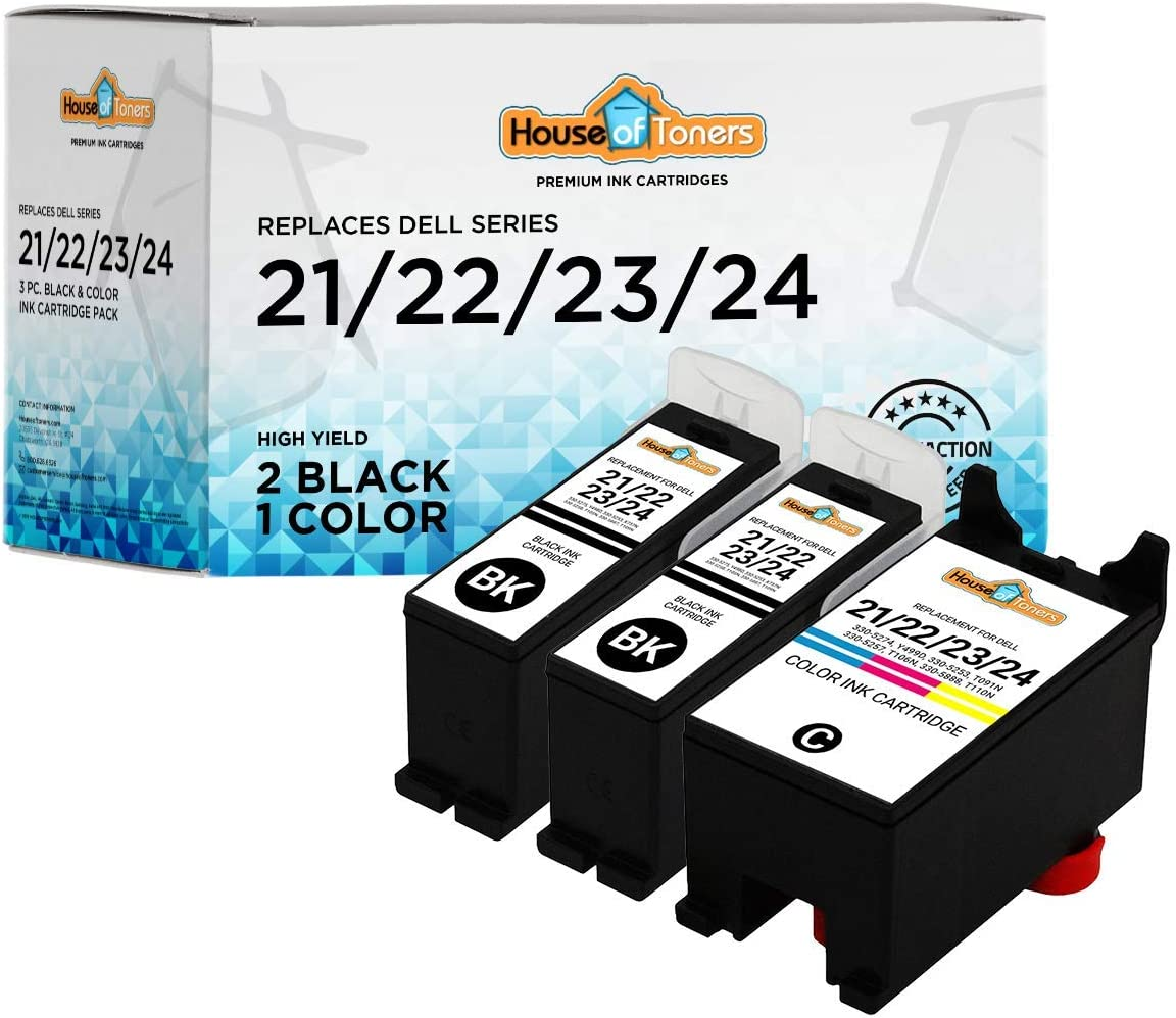 HouseOfToners Compatible Ink Cartridge Replacement for Dell Series 21/22/23/24 (2 Black & 1 Color) Pack of 3