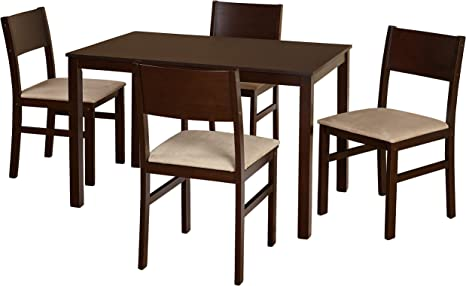 Amazon Com Target Marketing Systems Lucca Modern Rustic Dining Room Chair 5 Piece Espresso Black Furniture Decor