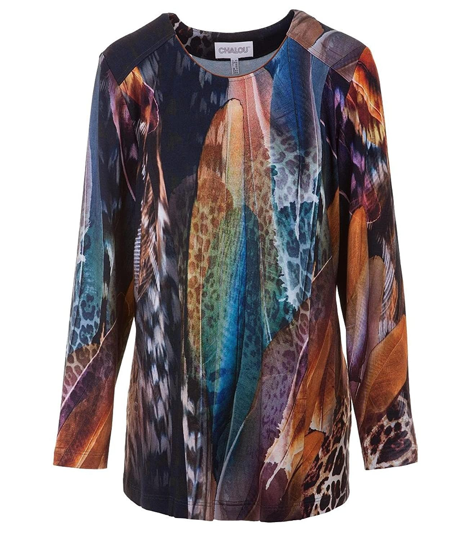 Chalou Damen Shirt Langarmshirt Longshirt mit Federn Druck Übergröße Blau Bunt 50 52 54 56 58 60