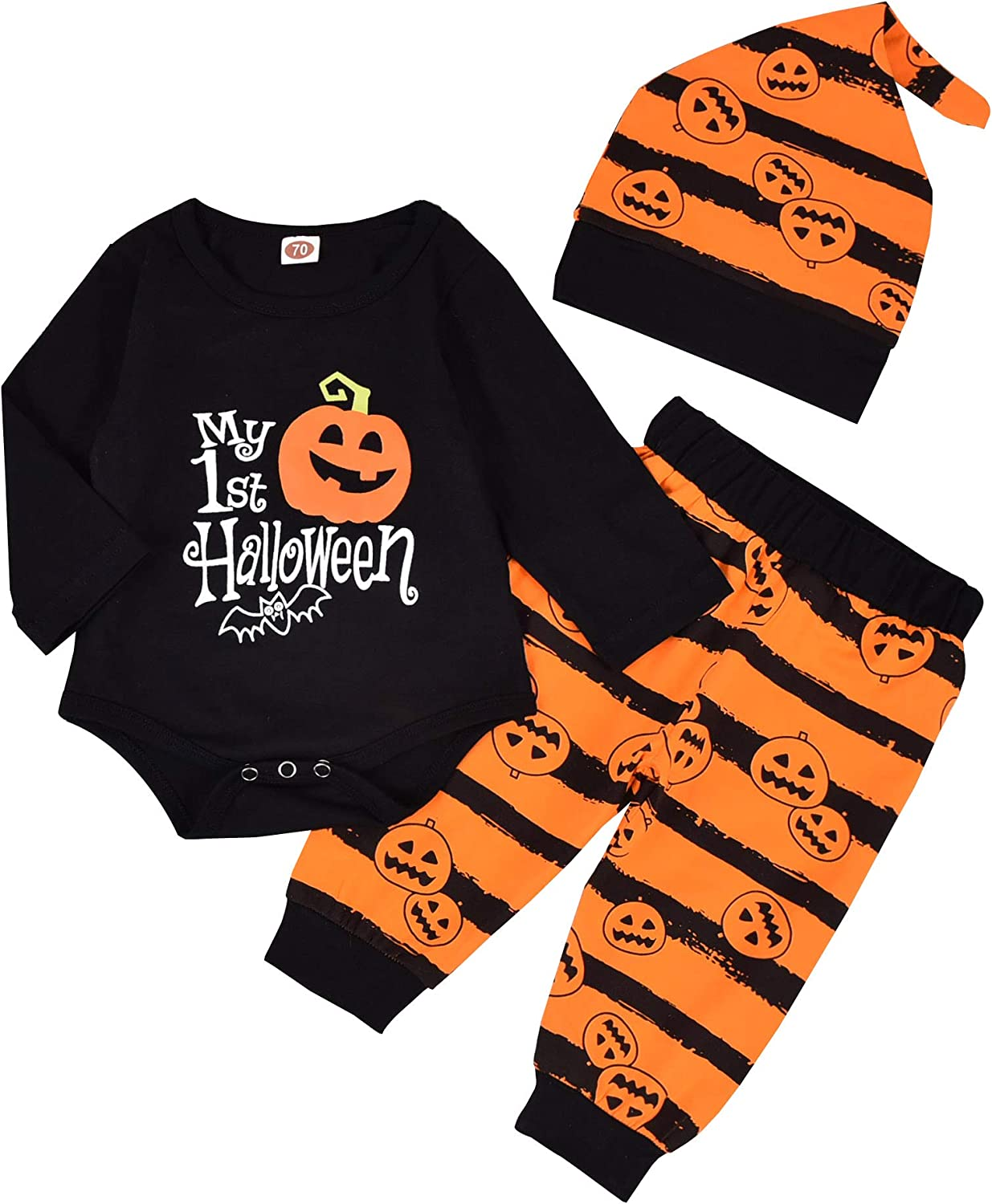 Cute Party Warm Leatter Pumpkin Romper Pants Hat Headband Outfit Set Toddler Baby Girls Halloween Costumes