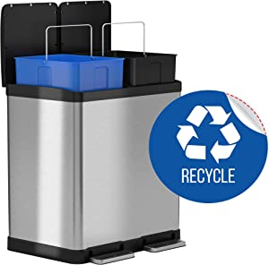 iTouchless 16 Gallon Dual Step Trash Can & Recycle Bin, Stainless Steel includes 2 x 8 Gallon (30L) Removable Buckets with Handles, Soft-close and Airtight – Recycle Decal included