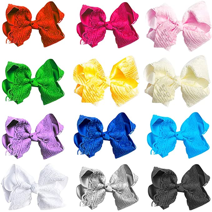 12 Pack Baby Girls Big Hair Bows Alligator Clips,Princess Dress Hair Accessories Lace Hair Clip for Toddlers