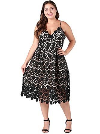 Simplee Plus Spaghetti Strap Floral Lace Dress Women\'s Plus ...