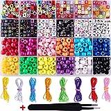 Newooh ABC Kit de miçangas de pônei, pulseira elástica colorida, leve, bonito, para crianças, faça você mesmo
