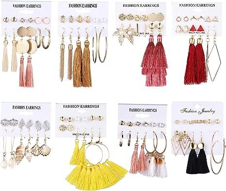 48 Pairs Bohemian Tassel Earring Set for Women Girls Hoop Stud Drop Dangle Ball Earrings for Birthday//Party//Christmas//Valentine//Friendship Gifts