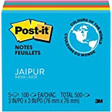 Post-it Post-it Notes, Jaipur Collection, 3 inch x 3 inch, 5 Pads/Pack, 2-PACK