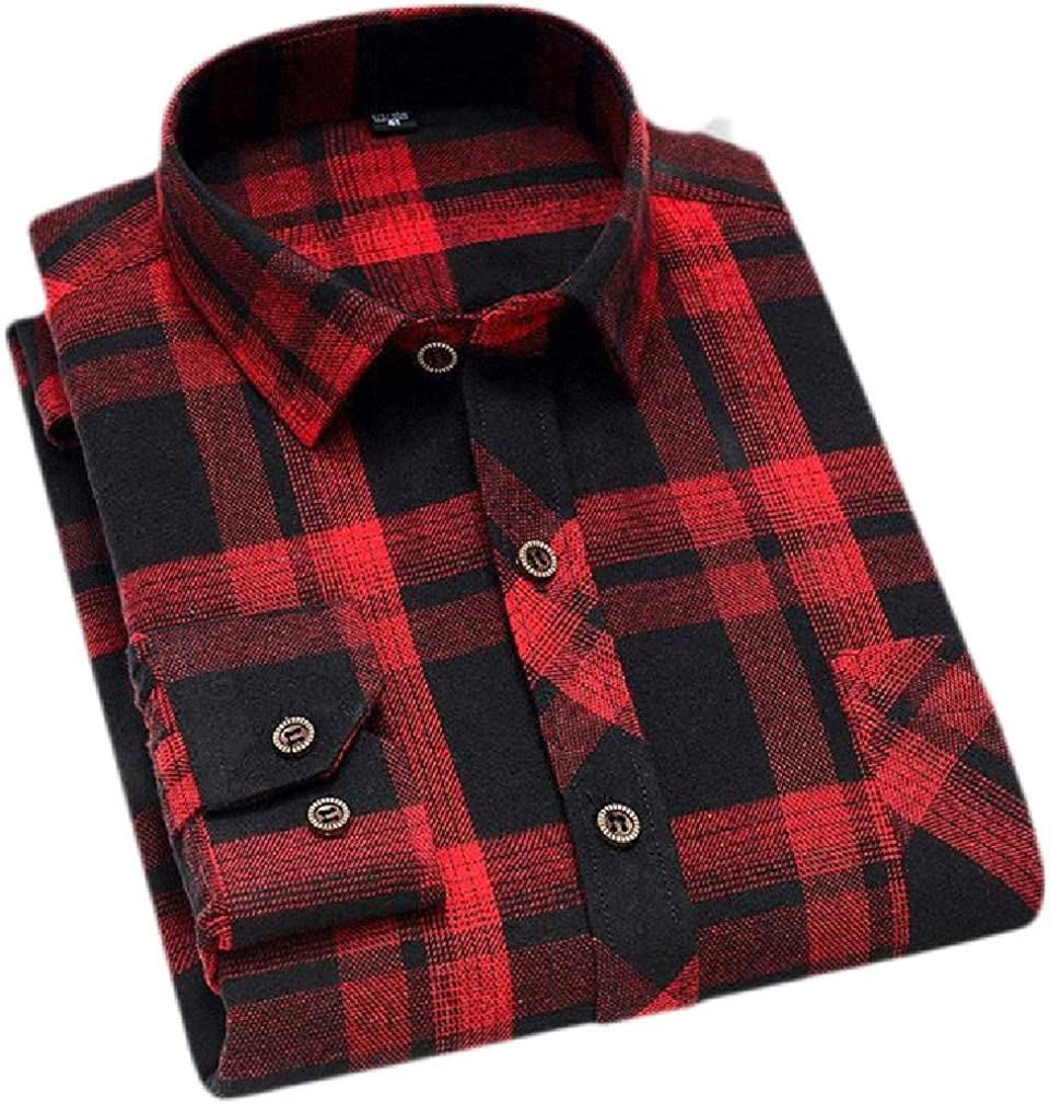 Lutratocro Mens Buffalo Casual Button Down Flannel Long Sleeve Checkered Shirts