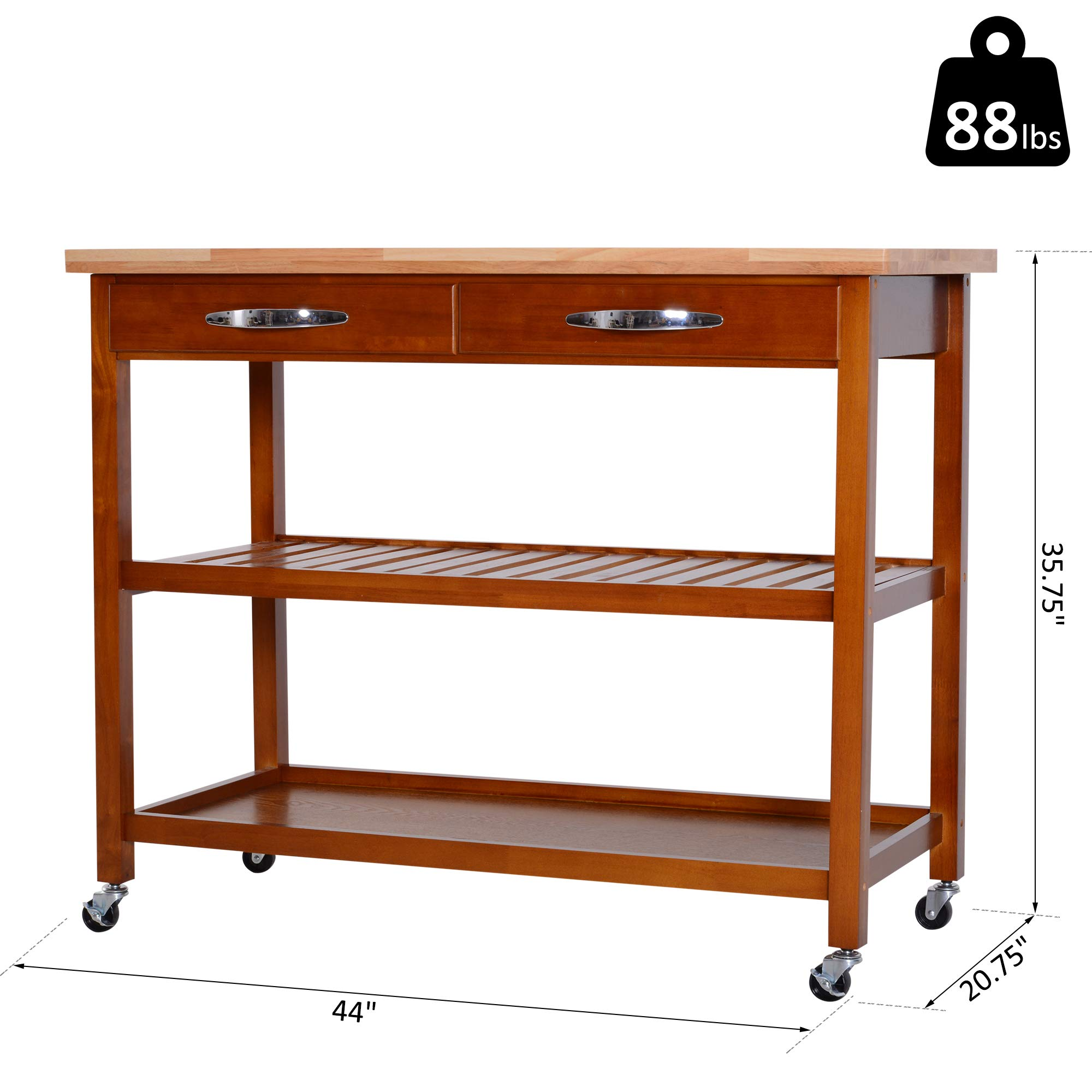 HOMCOM 44'' 3-Tier Rubberwood Kitchen Island Cart on Wheels - Brown by HOMCOM (Image #7)