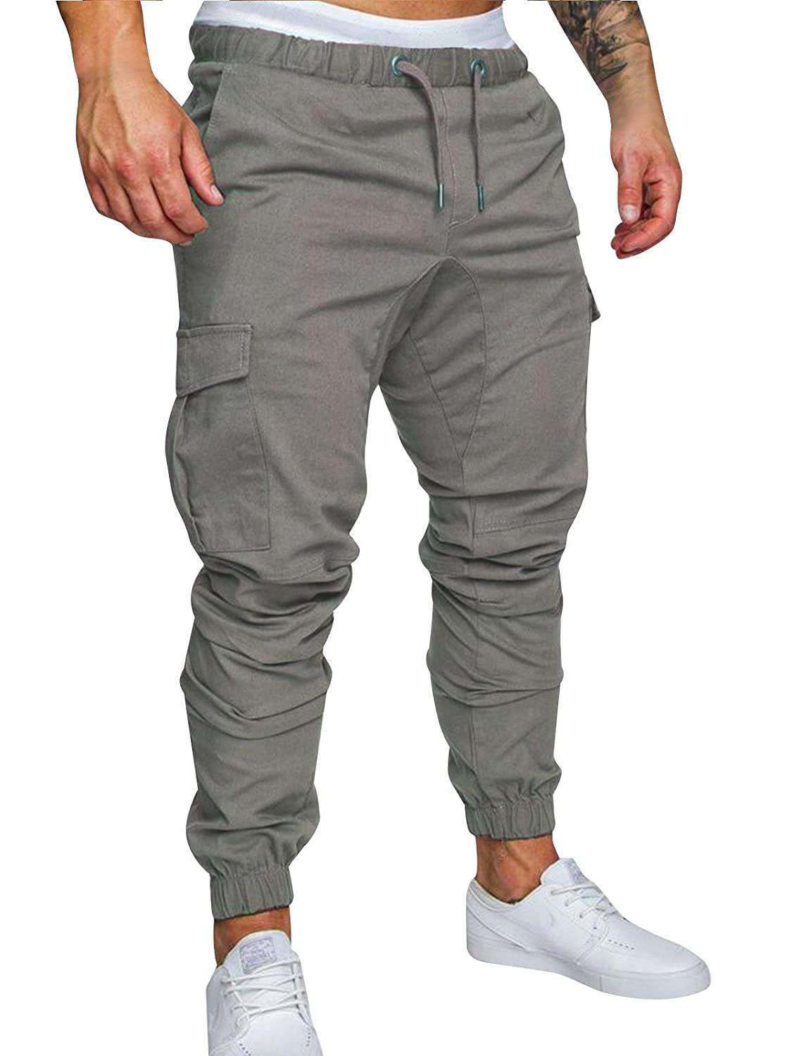 Mens Cargo Trousers Slim Fit Jeans Combat Skinny Elasticated Waist Drawstring Chinos Pants Slack Bottoms M-3XL