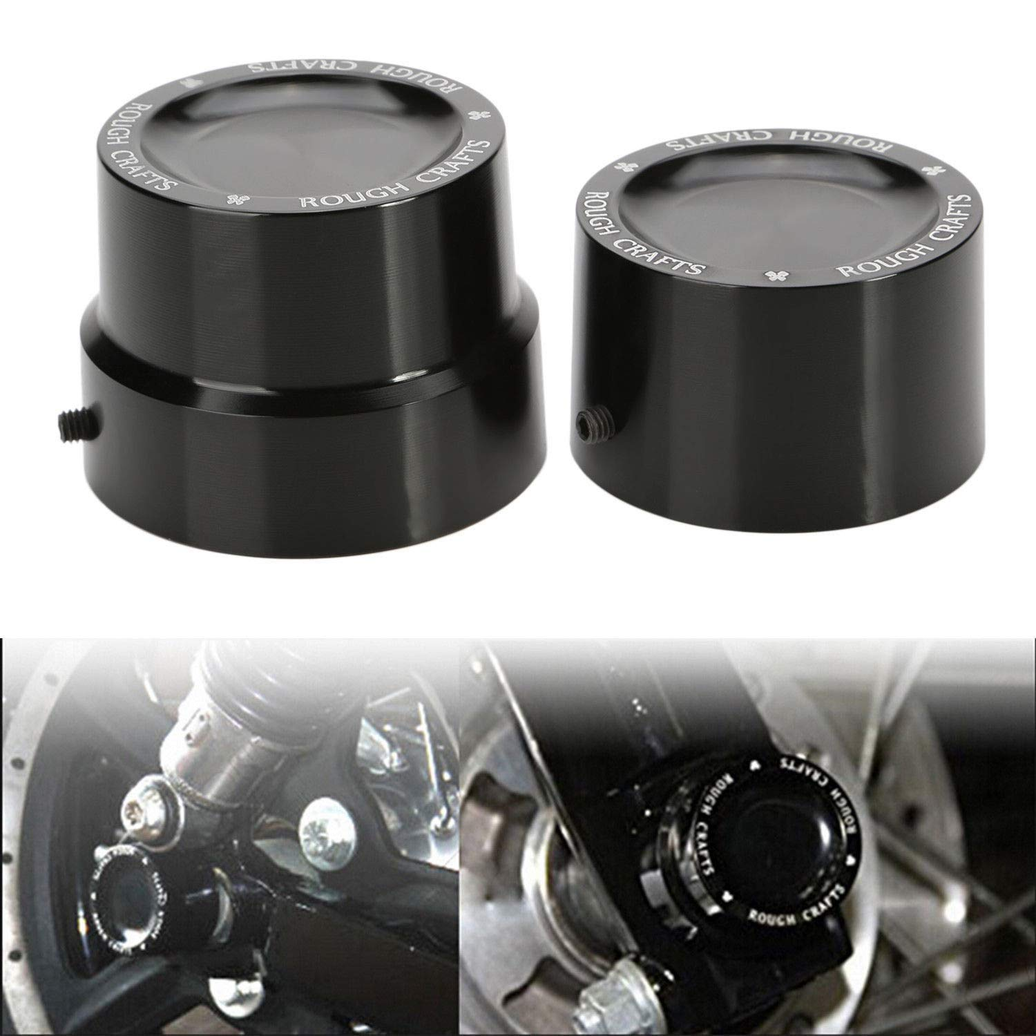 Ocamo 2pcs Rear Axle Nut Covers Bolt Kit Harley XL1200 XL883 Dyna Touring V-Rod