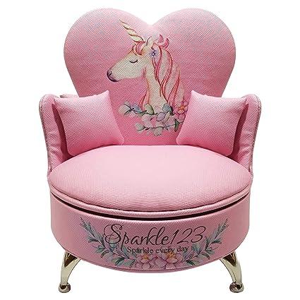 03913d790ab Sparkle123 Unicorn Kid Jewelry Box for Baby Girls – Pretty Pink Color    Plush Sofa Design