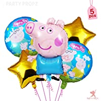 Party Propz 5Pcs Peppa Pig Theme Foil Balloons For Peppa Pig Birthday Party Supplies