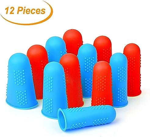 Custodie Proteggi Dito Salvadita in Silicone 12 Pezzi Protezione Dita Finger Protezioni per le Dita per Colla a Caldo Adesivi Resina Cera Cucitura Mestiere di Cucito ecc 3 Dimensioni Rosso/&Blu