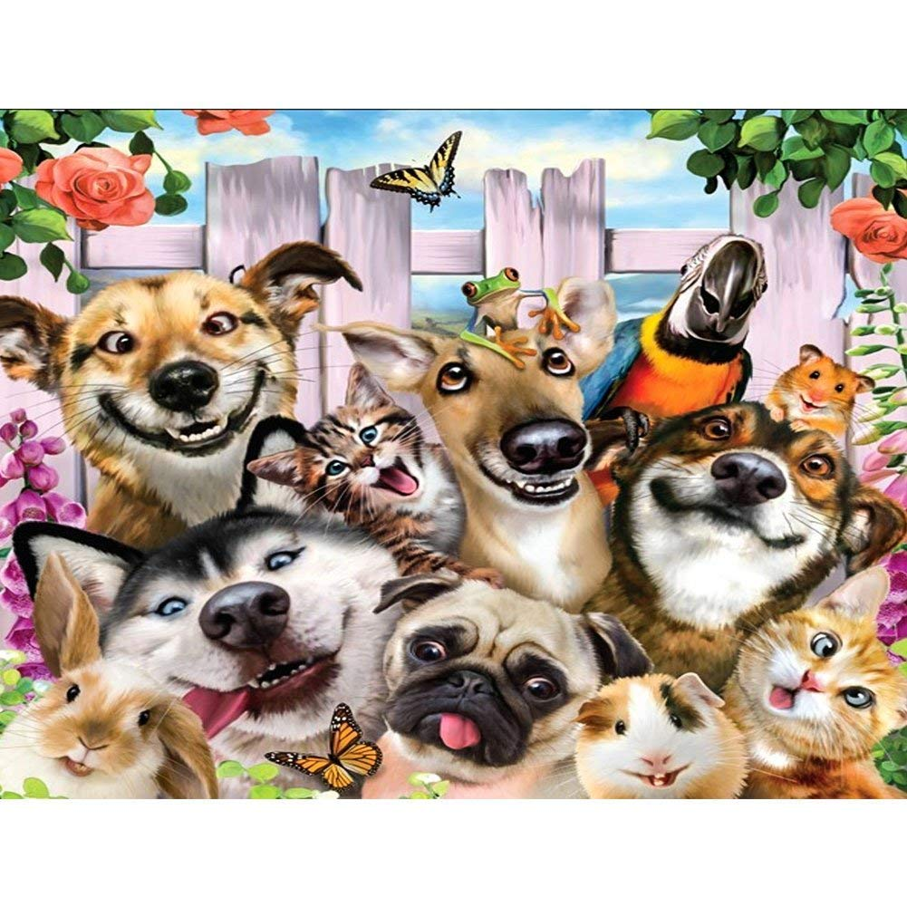 DIY 5D Diamond Painting Kits, Cute Dog Family Animal Full Drill Crystal Rhinestone Embroidery Pictures Arts Craft for Home Wall Decor Gift (Dog Family, 15.7 * 11.8 inch) Kissme8