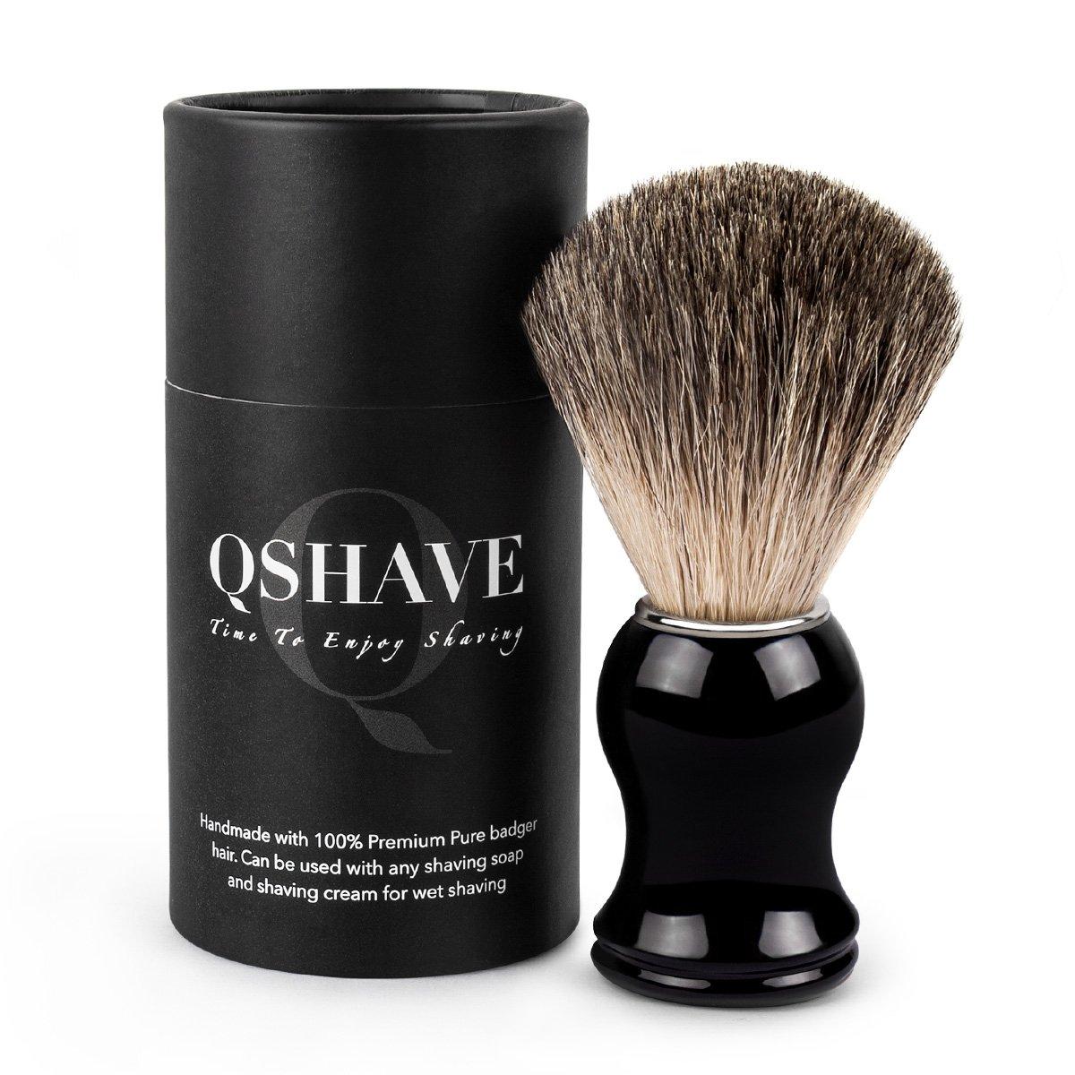 qshave cepillo Brocha de afeitar 100% pelo de blaireaus auténtico y puros Hecho a mano resina con mango de plástico. La elección para el afeitado mojado con navaja de seguridad/seguridad coup-choux QM3203