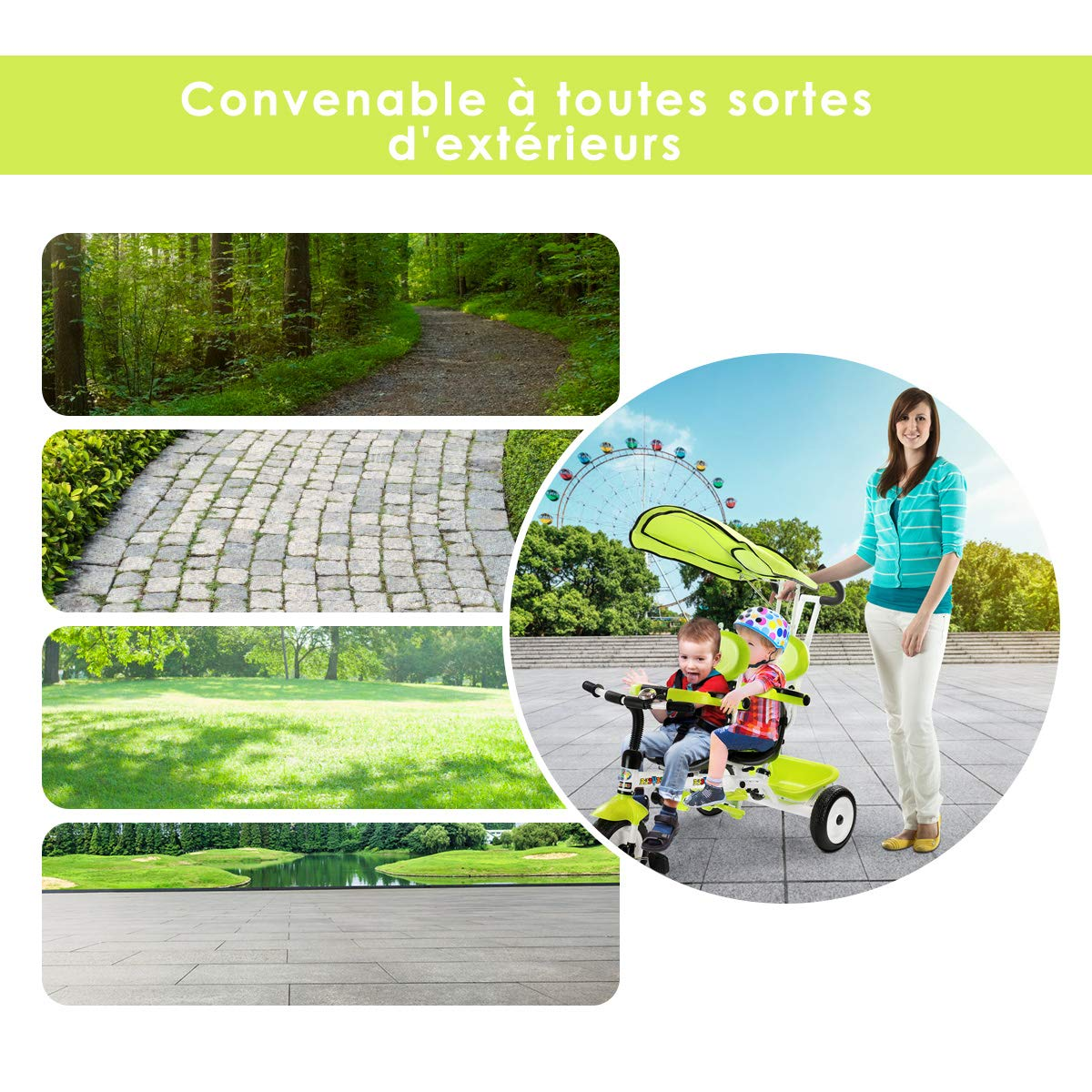COSTWAY Tricycle Evolutif Enfants avec 3 Roues 2 Places Poussette Evolutif pour Enfants de 18-36 Mois Si/ège Pivotant Charge Max 30 KG Rouge