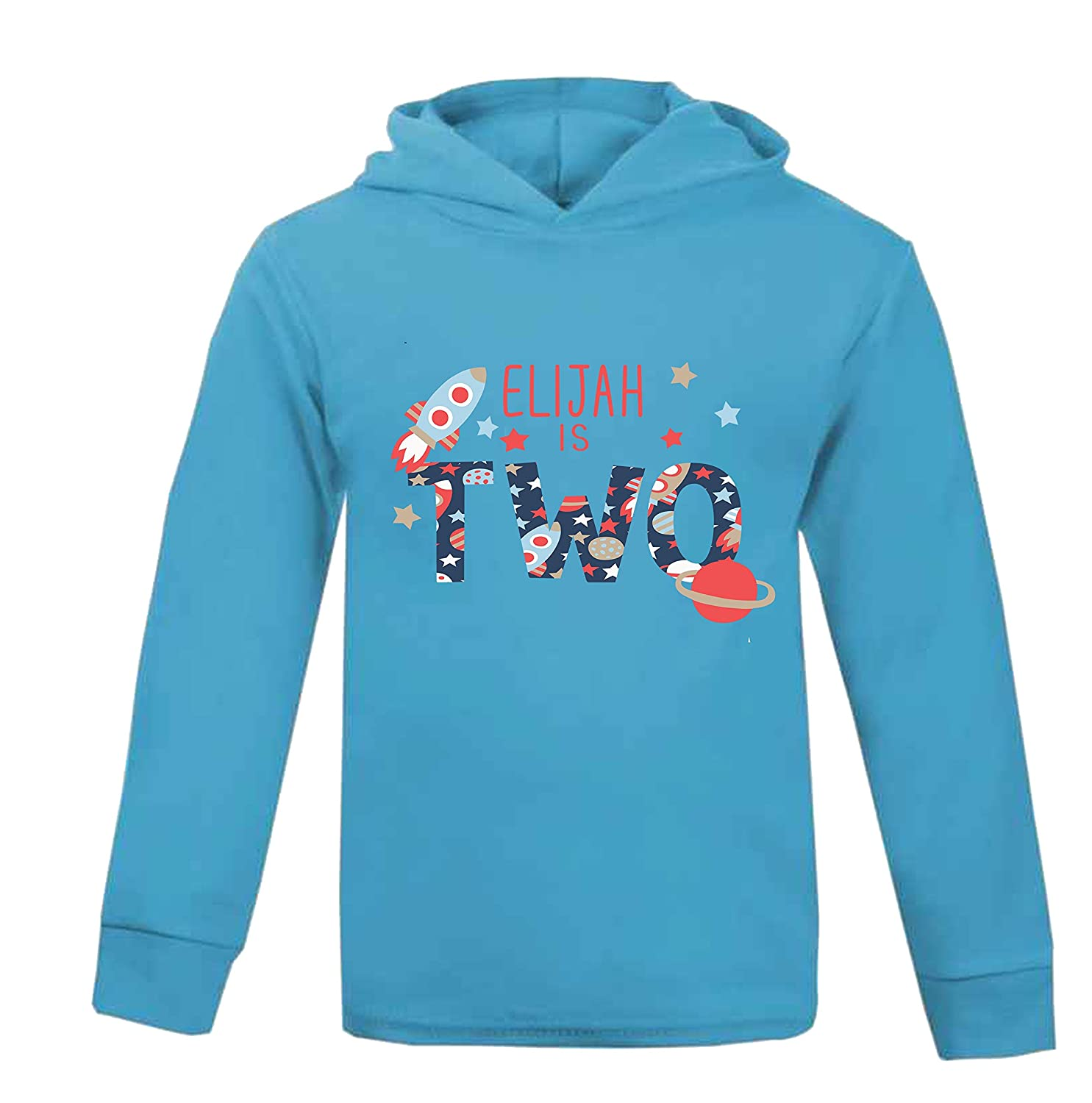 Personalised Name is 2 Birthday Space Hoodie Second Birthday Top Children's Birthday Rocket Top