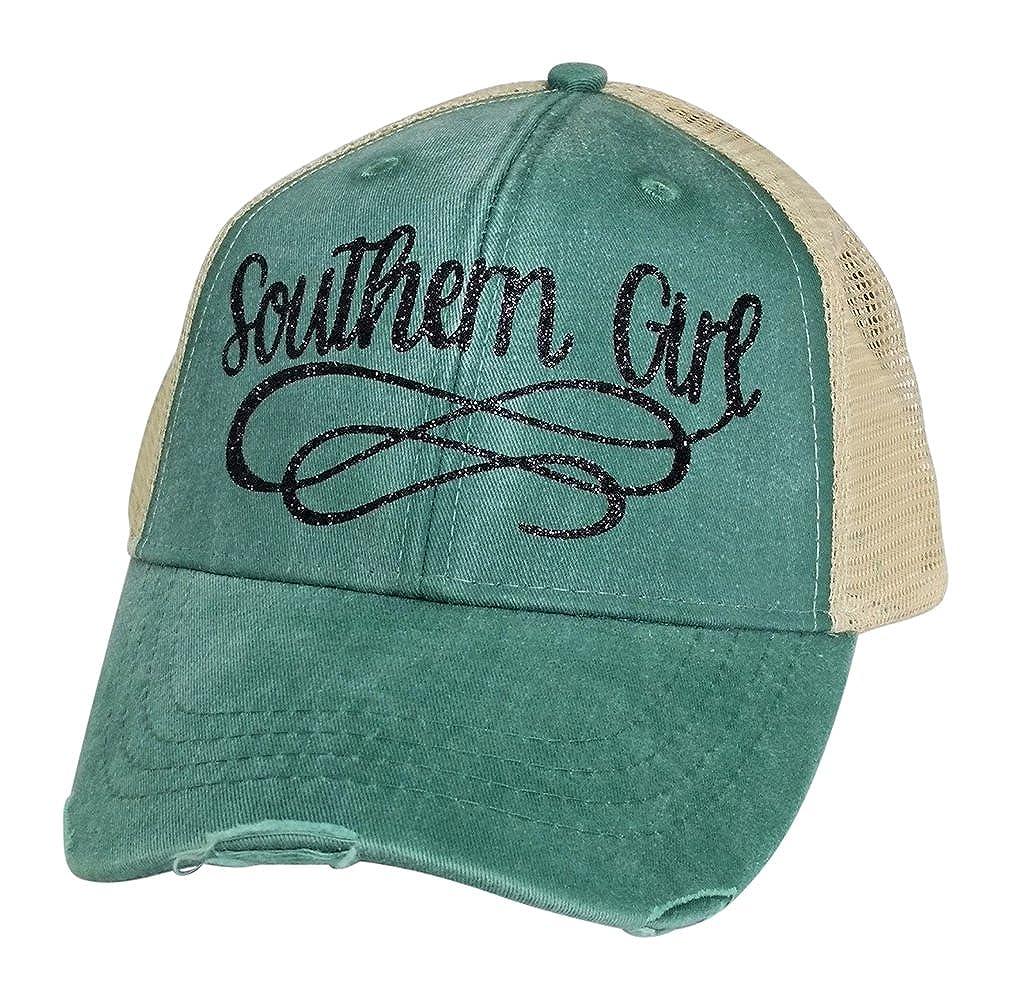 Amazon.com  Loaded Lids Women s Southern Girl Bling Trucker Style Baseball  Cap (Blue White)  Clothing 0cc4eb475b48