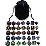 5 Sets New Black Polyhedral Dice with Satin-Lined Velvet Bag for Dungeons and Dragons DND RPG MTG D20 D12 D10 D8 D6 D4