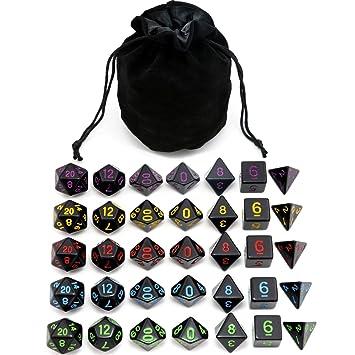Amazon.com: 5 juegos de dados de poliedra negros con bolsa ...