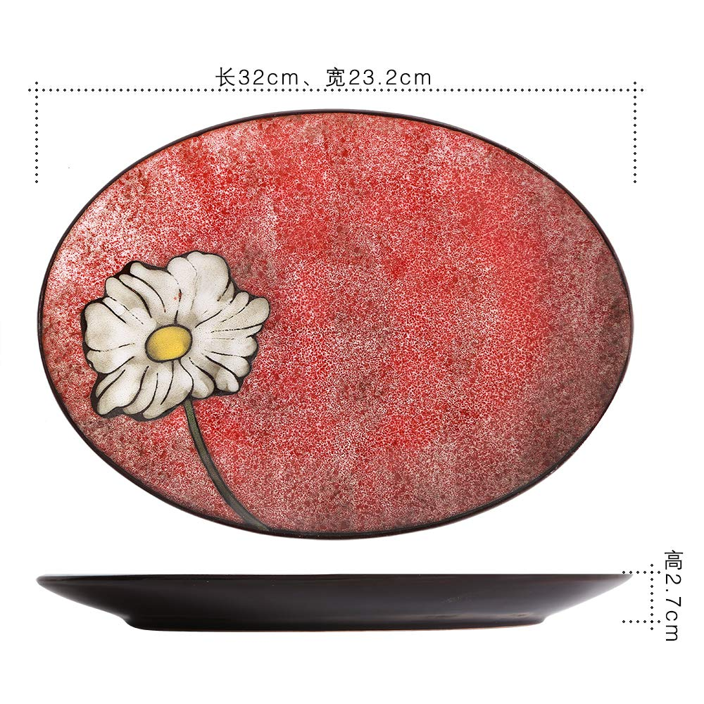 QPGGP-Plate Creative Kiln Variable Series Tableware Soup Plate Oval Fish Plate Rice Bowl Hand-Painted Ceramic Tableware Set,E