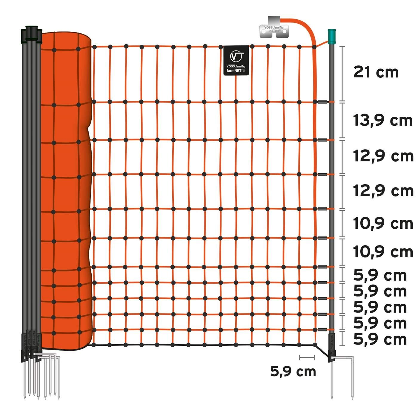 Can be Extended to 450m Gate Guy Ropes farmNET Netting 12 V//Mains Energiser Sign Anti-Fox VOSS.farming 50m Premium Poultry Electric Fence Kit incl Tester 3 J 12,000 V