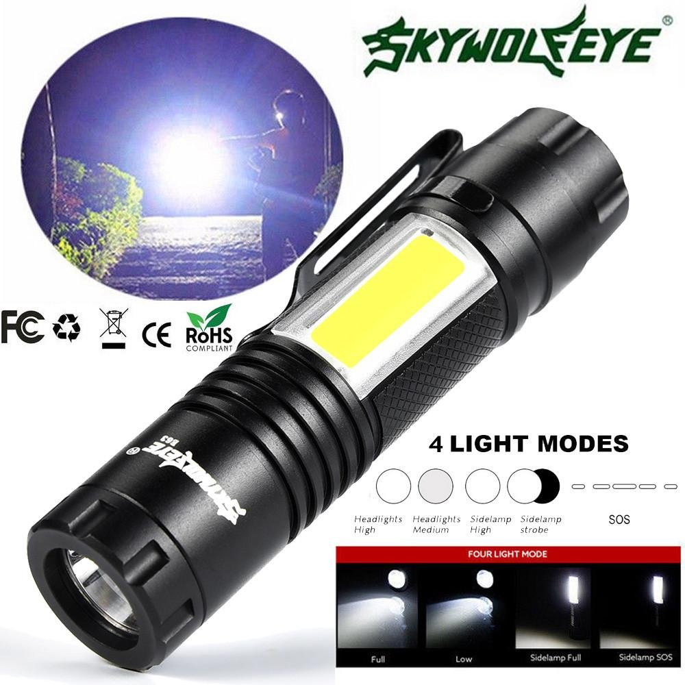 Fulltime 5000LM XPE Q5 +COB LED Torch Light Waterproof Camping Torch Mini Pocket Clip Light with 14500/AA Batteries