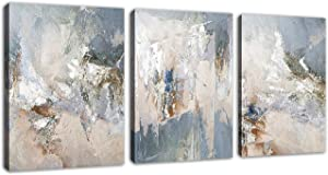 "Abstract Canvas Wall Art Modern Abstract Painting Prints Blue Grey Canvas Picture Artwork Contemporary Wall Art Bedroom Living Room Bathroom Office Decoration Framed Ready to Hang 12"" x 16"" x 3 Pieces"