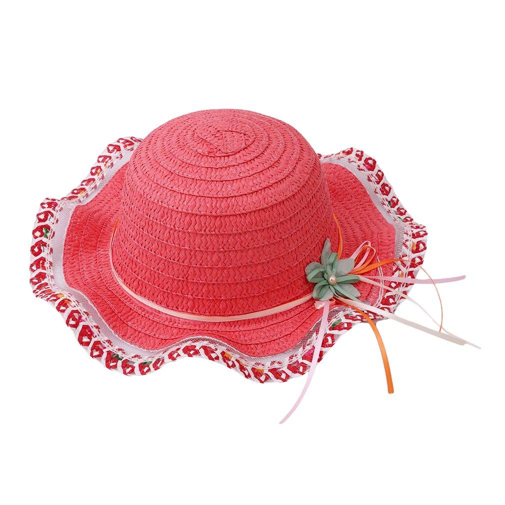 HENGSONG Children Girls Summer Travel Beach Butterfly Flower Straw Hats Caps (Watermeloon Red)