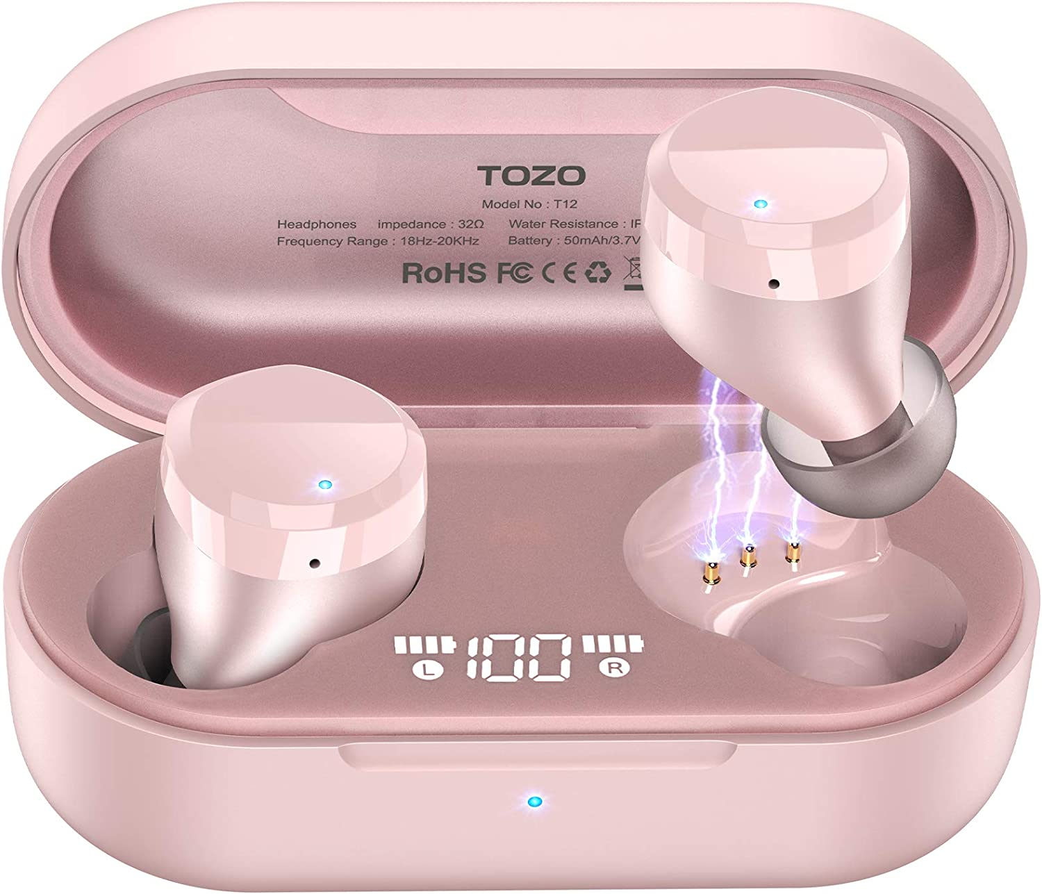 TOZO T12 Wireless Earbuds Bluetooth Headphones Premium Fidelity Sound Quality Wireless Charging Case Digital LED Intelligence Display IPX8 Waterproof Earphones Built-in Mic Headset for Sport Rose Gold