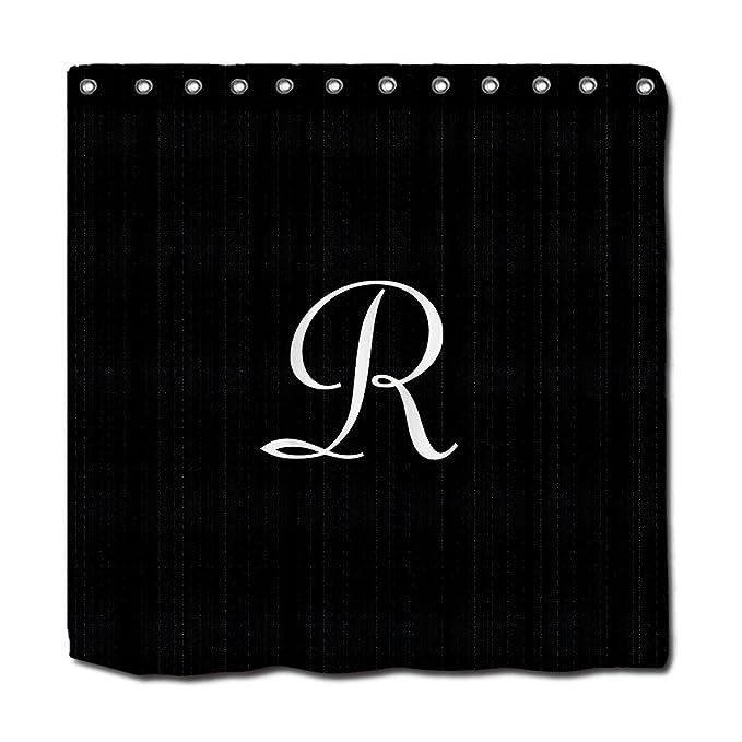 YYT Shower Curtains Black Faux Burlap Curtain White Monogram