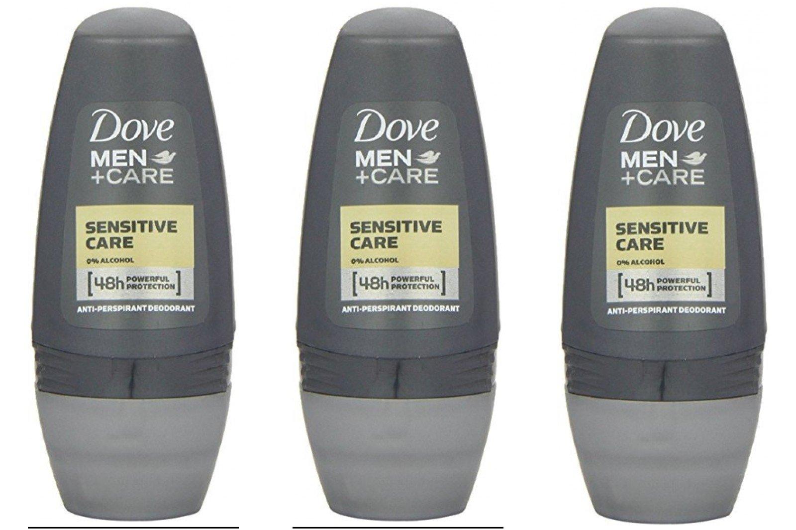 Dove Men+Care Sensitive Care Antiperspirant Deodorant Roll-On 1.7 Oz-50 Ml Travel Size (Pack of 3)