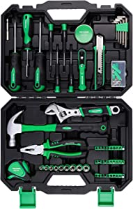 Tool Kit for Home, METAKOO 100 Pieces Home Repair Basic Tool Kit Sets, Plating Surface, Cr-V General Household Tool with Plastic Toolbox Storage Case, Essential Tools, Housewarming Gift, MTS01H