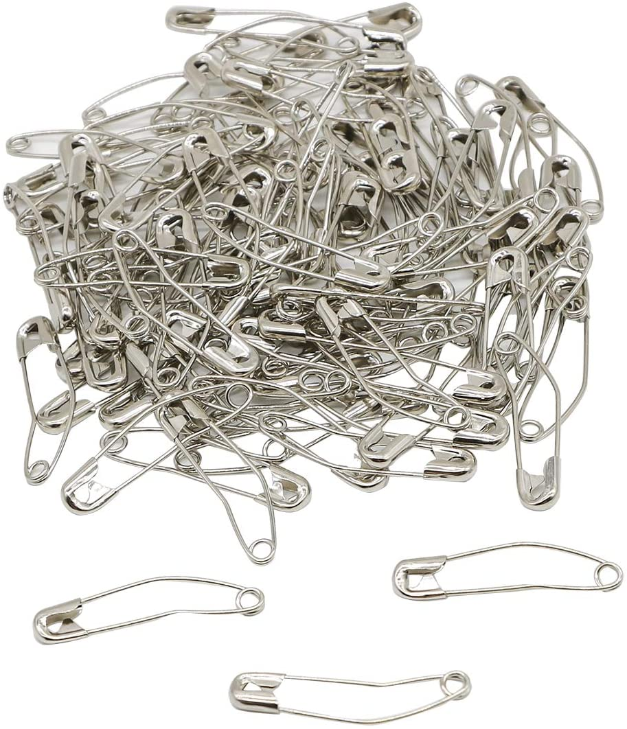 iNee Curved Safety Pins, Quilting Basting Pins, Nickel-Plated Steel, Size 2, 100 Count