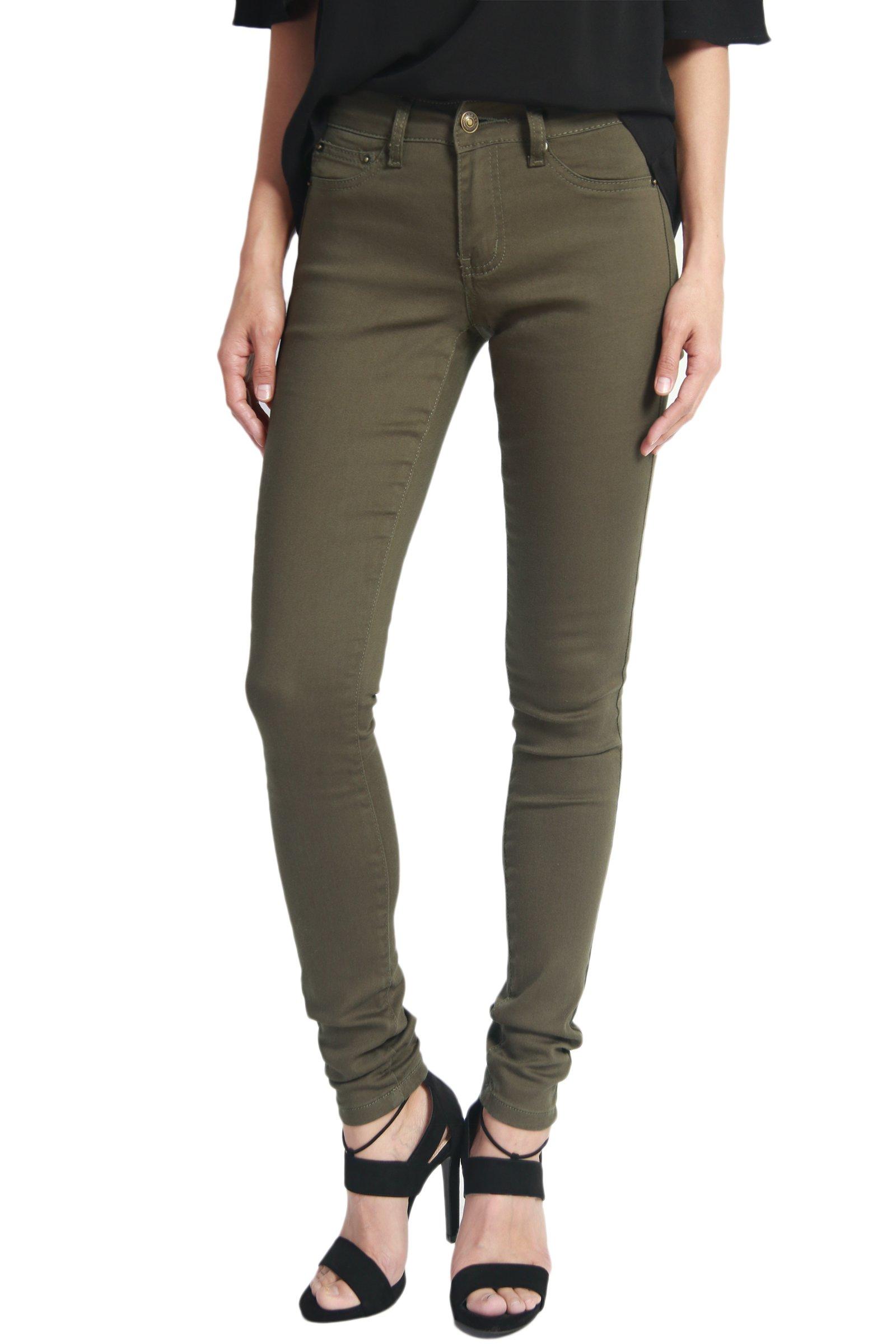 TheMogan Women's Army Olive Green 5 Pocket Stretch Denim Skinny Jeans Olive 1
