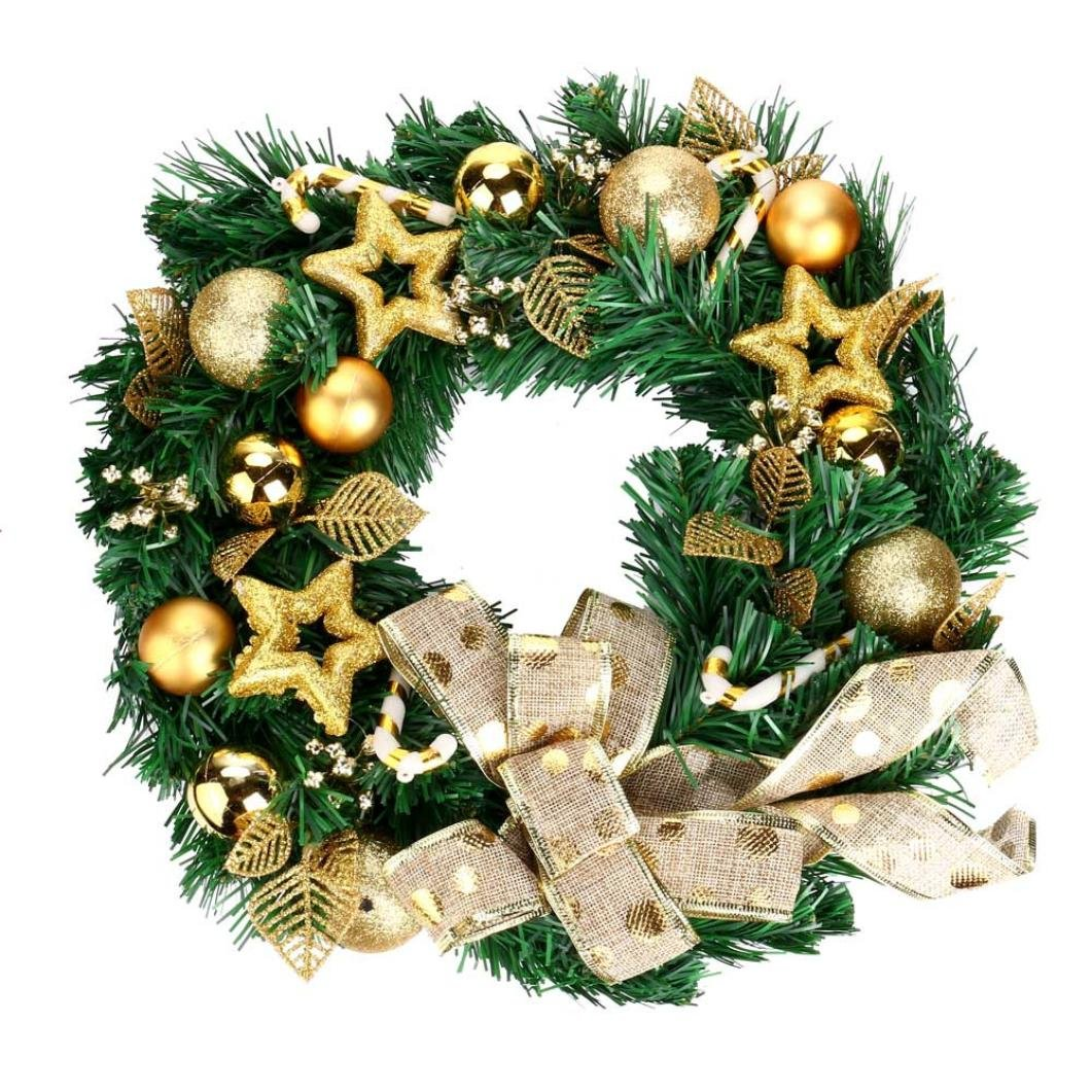 Livoty NEW DIY Merry Christmas Wreath 40cm Garland Window Door Decorations Bowknot Ornament (C)